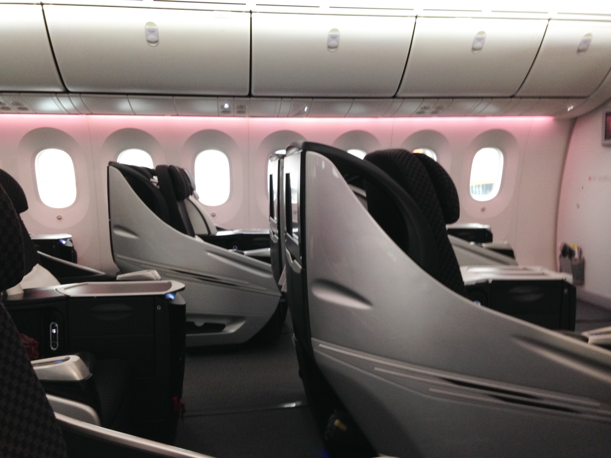 JAL Business Class Boeing 787 Sitze Seite