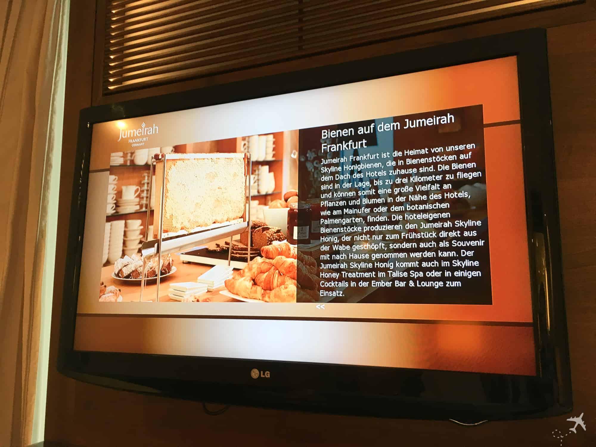 Jumeirah Hotel Frankfurt Fernseher