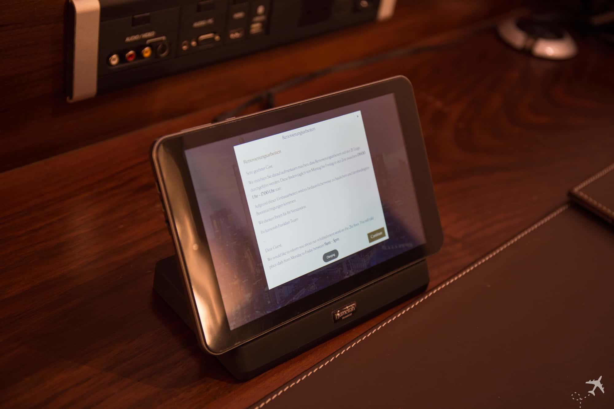 Jumeirah Hotel Frankfurt Tablet