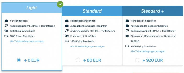 KLM Aufpreis Tarif