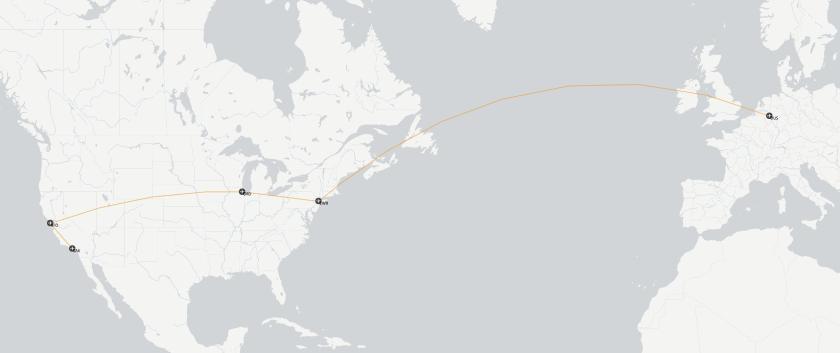 Karte DUS-EWR-ORD-SFO-LAX