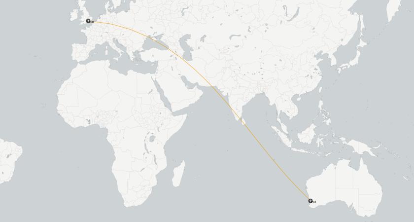 Karte LHR-PER