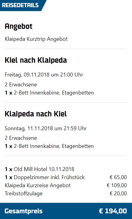 Kurztrip Klaipeda 194€