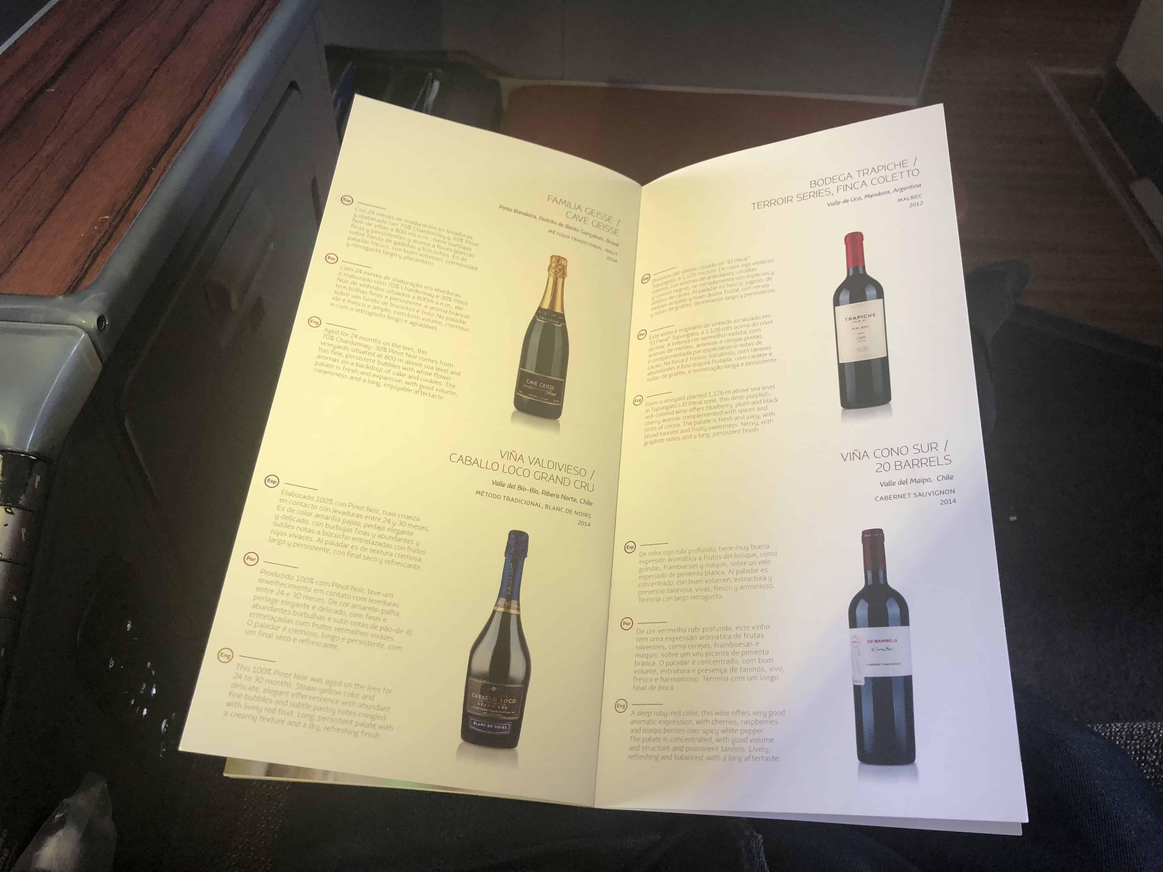 Auszug aus der Weinkarte in der LATAM Business Class.