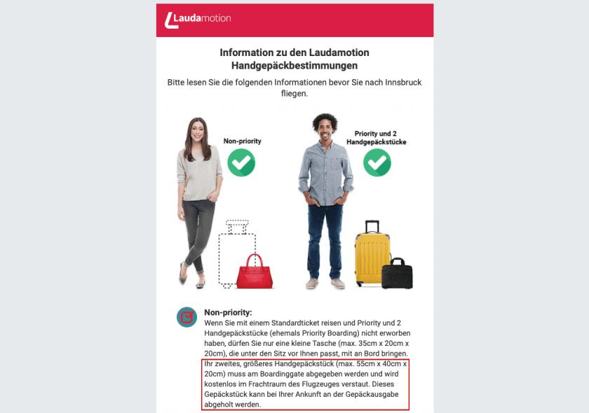 Laudamotion Info Email Handgepäck