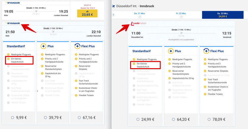 Laudamotion vs Ryanair Handgepaeck Standardtarif