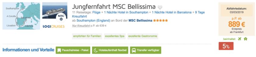 Logitravel Jungfernfahrt MSC Belissima