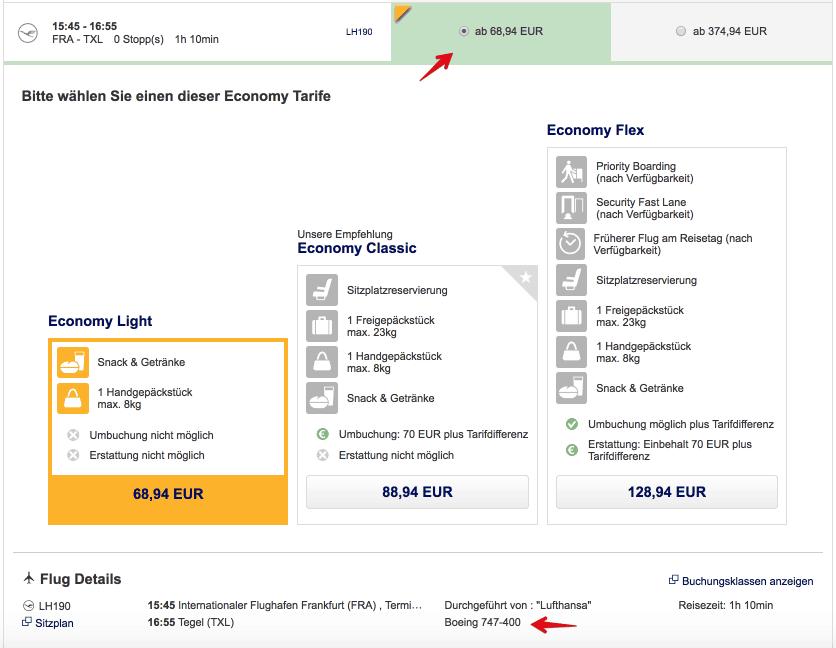 Lufthansa 747 Flugzeugtyp herausfinden