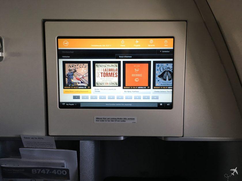 Lufthansa Business Class Bildschirm