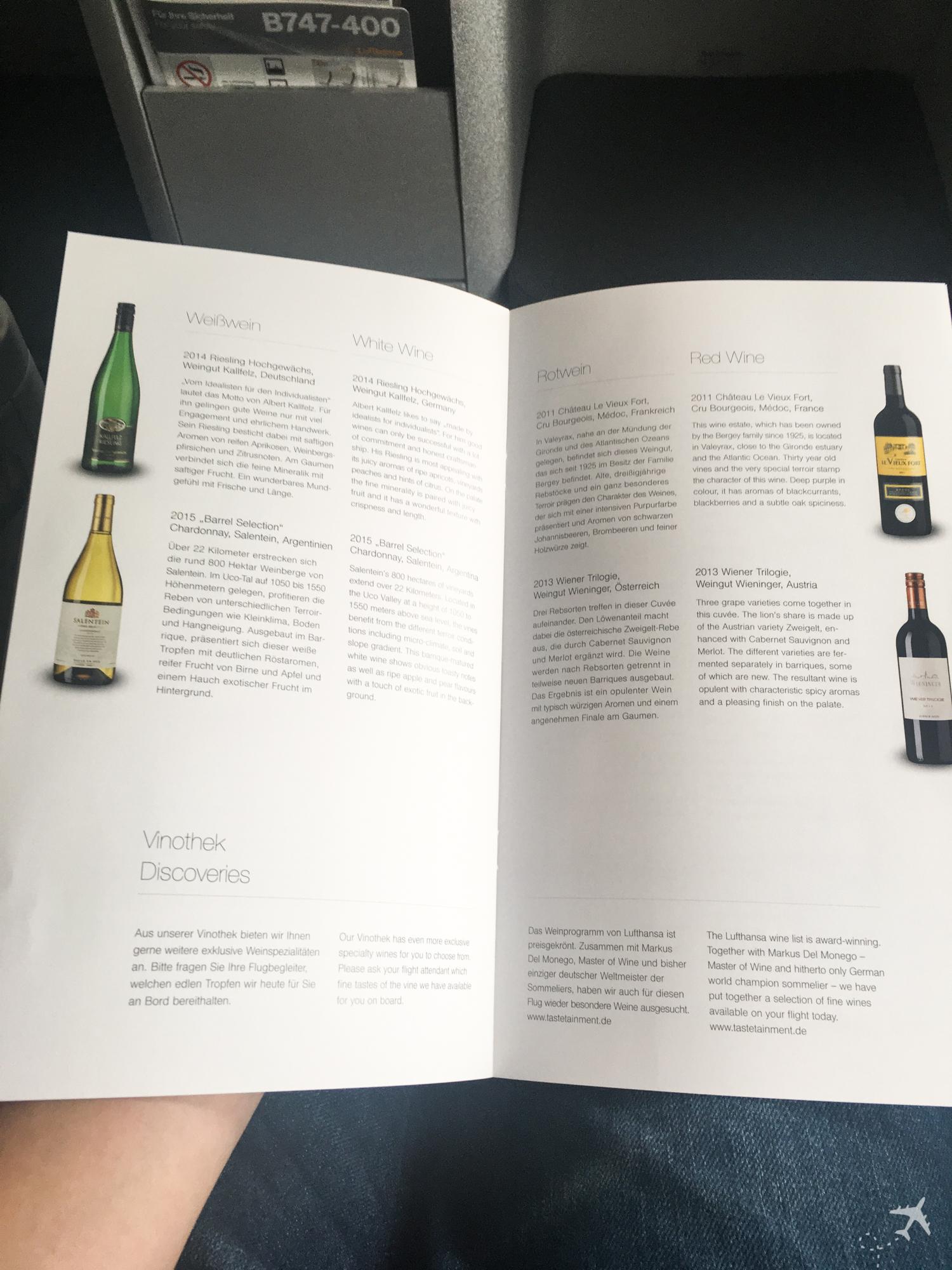 Lufthansa Business Class Menü Wein