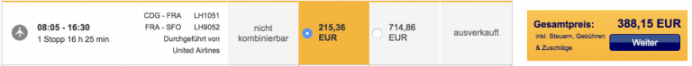 Lufthansa CDG-SFO Basic-Tarif