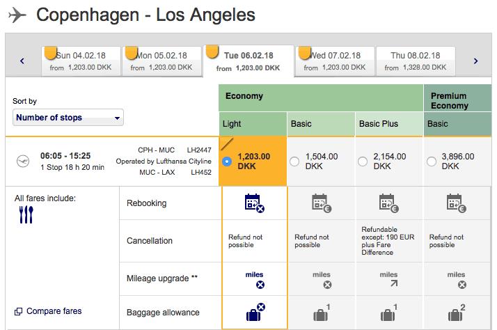 Lufthansa CPH-LAX Economy Light