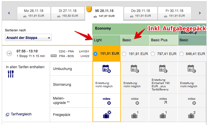 Lufthansa Economy Light Tarif