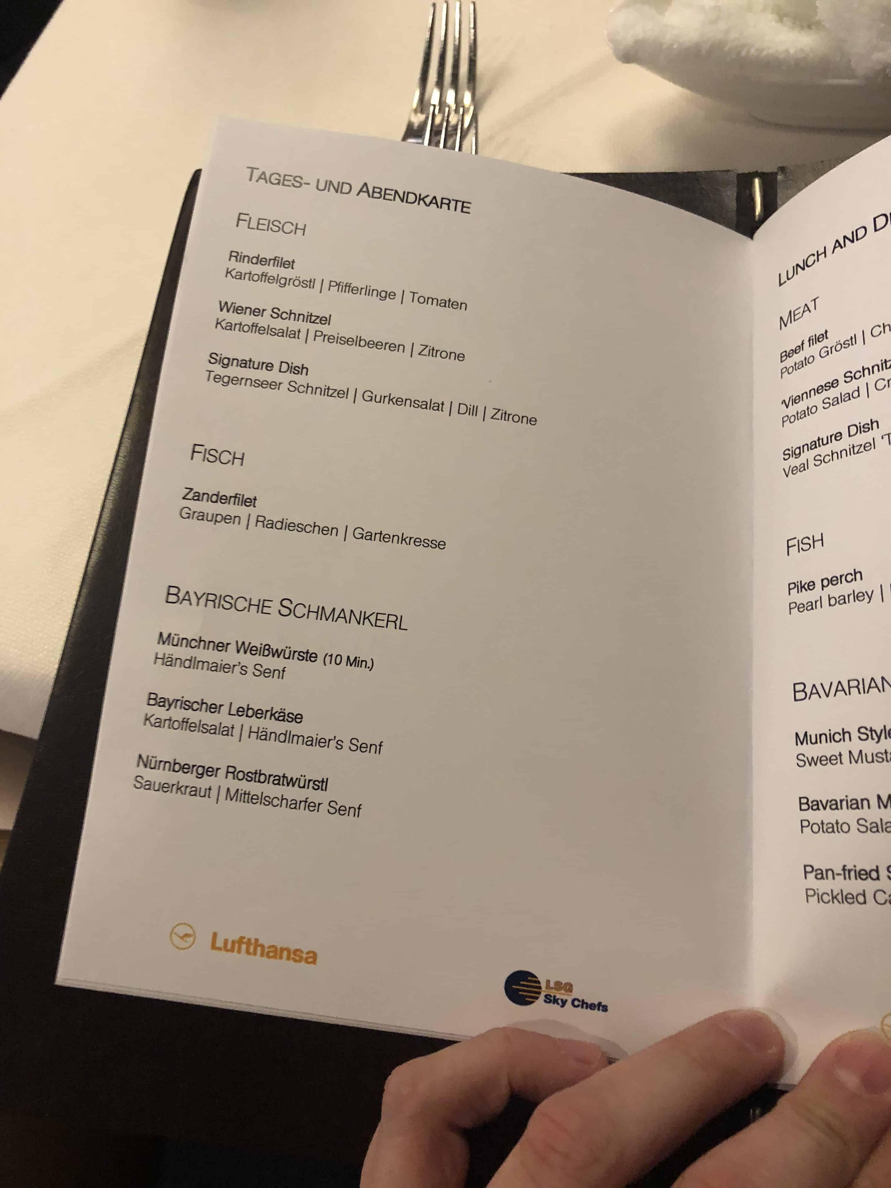 Lufthansa First Lounge MUC Speisekarte