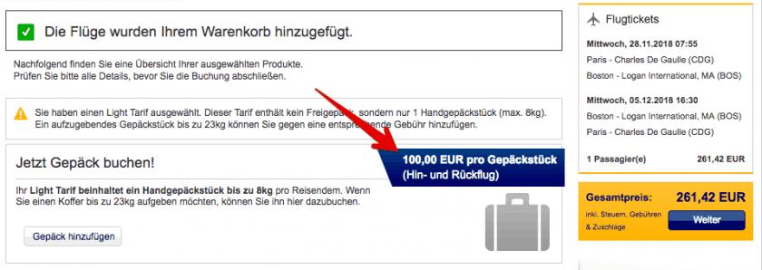 Lufthansa Light Tarif Aufgabegepaeck