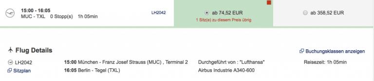 Lufthansa MUC-TXL A340
