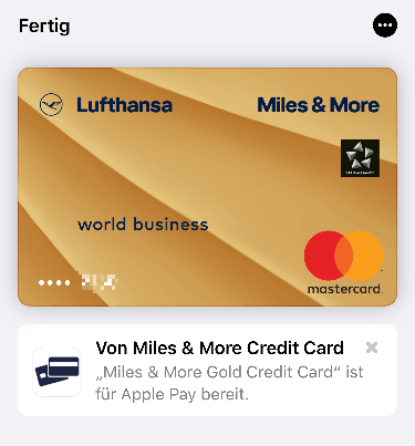 Lufthansa MilesMore Apple Pay