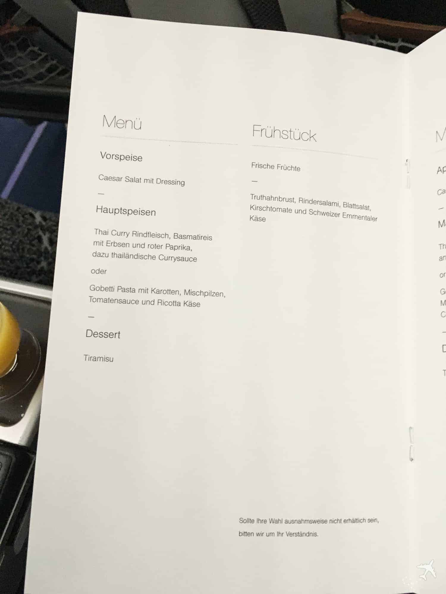 Lufthansa Premium Economy Class Menü Frühstück