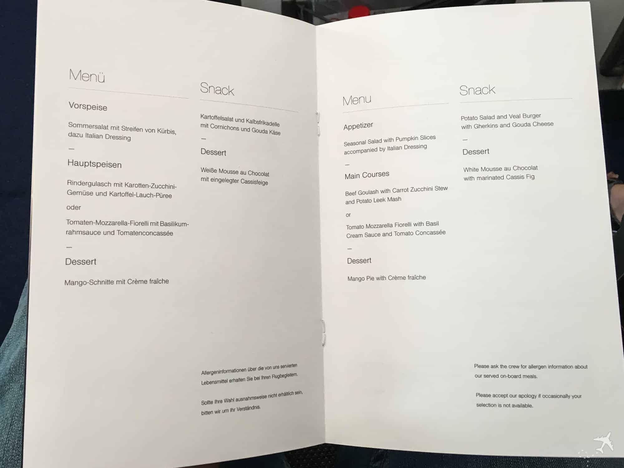 Lufthansa Premium Economy Class Menü