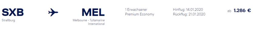 Lufthansa SXB MEL Premium Eco