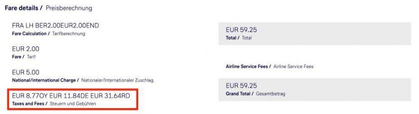 Lufthansa Steuern Gebuehren