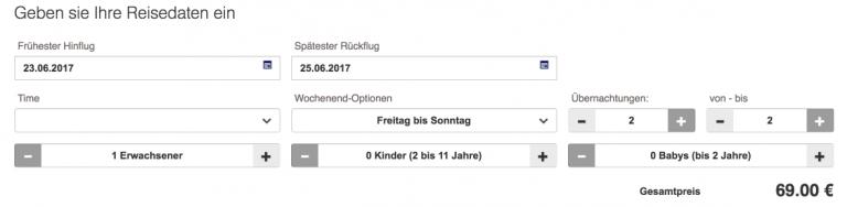Lufthansa Surprise Suchformular