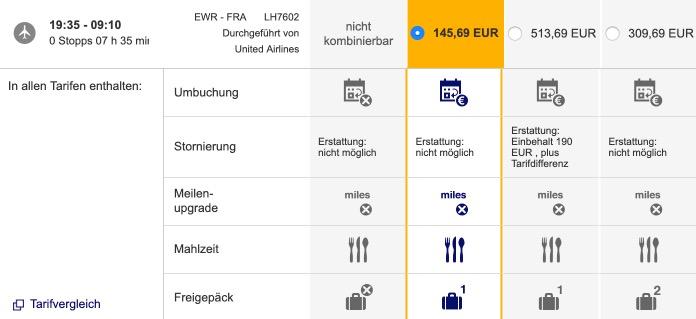 Lufthansa Tarifvergleich