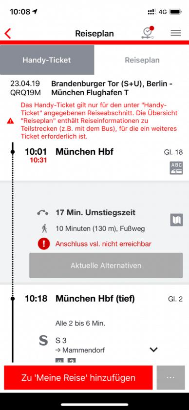 Lufthansa vs. ICE Bahn App Verspaetung