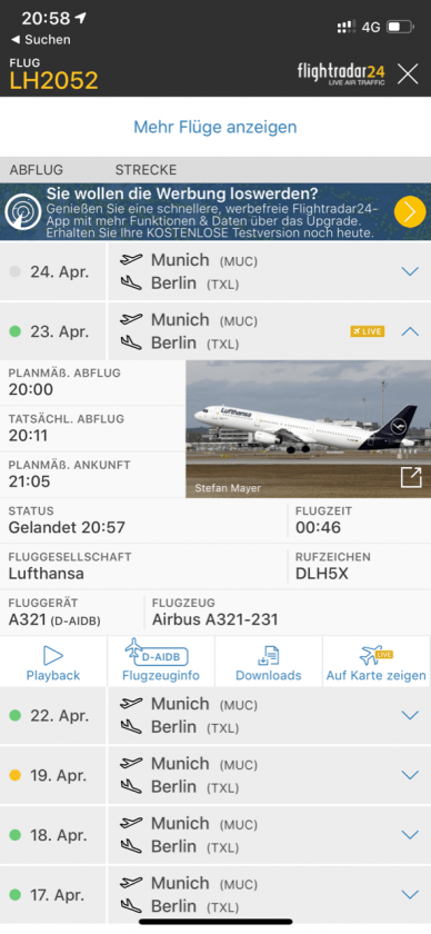 Lufthansa vs. ICE Flightradar Flug