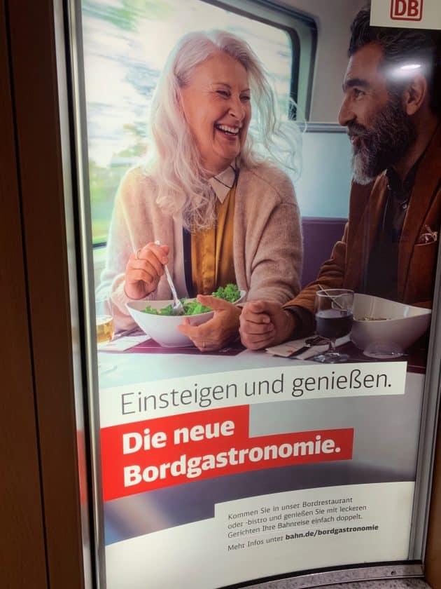 Lufthansa vs. ICE Zug Werbung Gastro