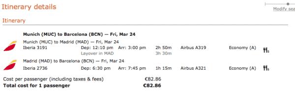 Flug München - Madrid - Barcelona