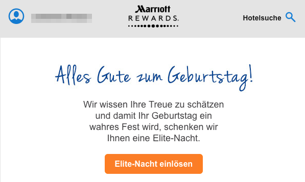 Marriott Rewards Geburtstag Elite-Nacht