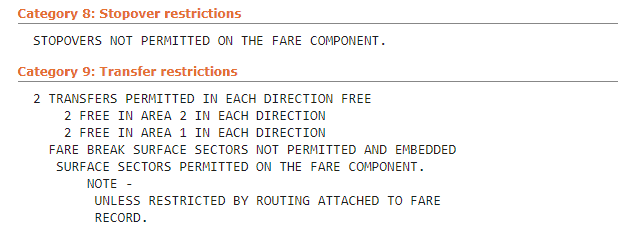 Matrix Fare Rules Stopover
