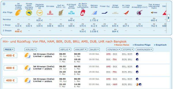 Genauere Ergebnisse bei Flug auswählen