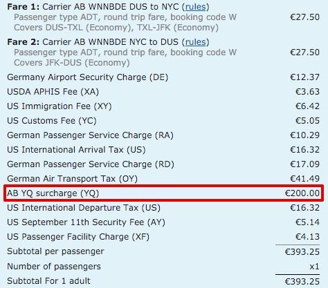 Matrix Flugpreis Surcharge