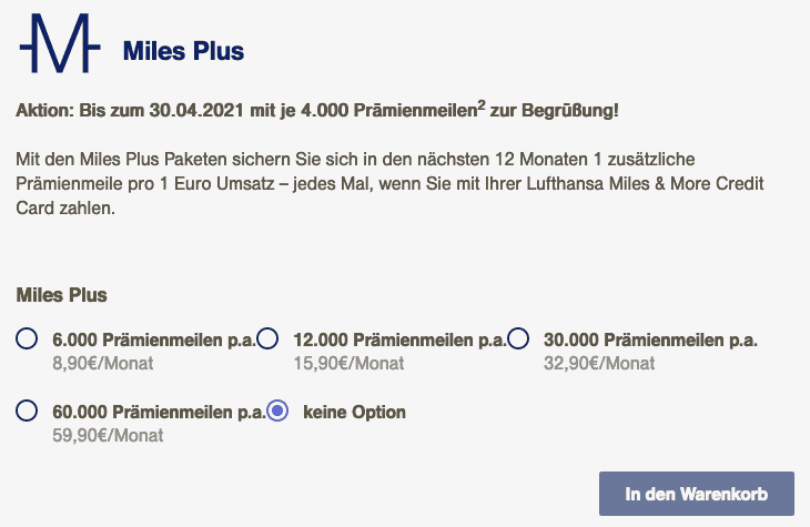 Miles and More Miles Plus Aktion 2021