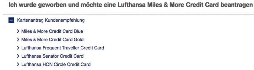 Miles&More Kreditkarte Freundschafswerbung
