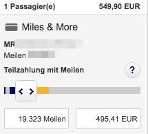 Teilzahlung mit Meilen bei Miles&More