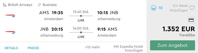 Momondo AMS JNB British Airways