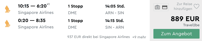 Momondo ARN SIN Singapore Airlines