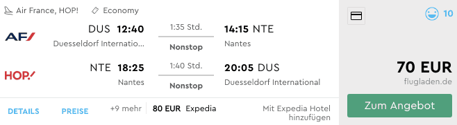 Momondo DUS-NTE Hop