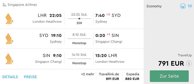 Momondo LHR-SYD-SIN Singapore Airlines
