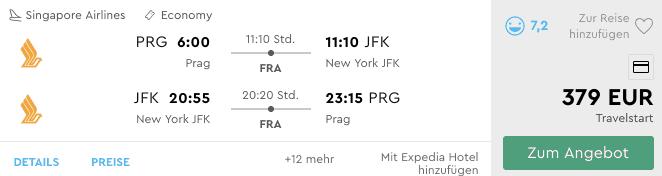 Momondo PRG JFK Singapore Airlines