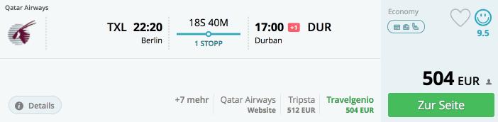 Momondo TXL-DUR Qatar Airways