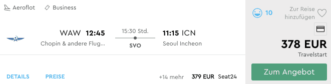 Momondo WAW ICN Aeroflot