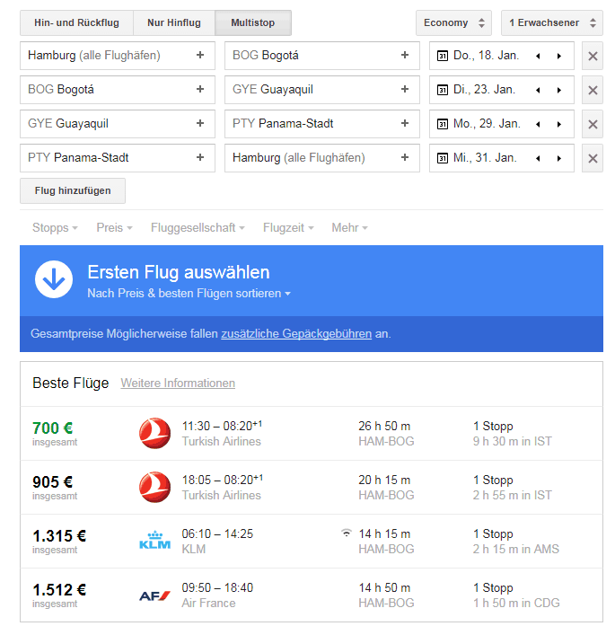Multistop-Suche mit Google Flights