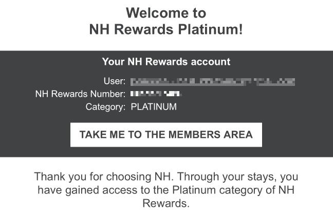 NH Rewards Platinum Bestaetigung
