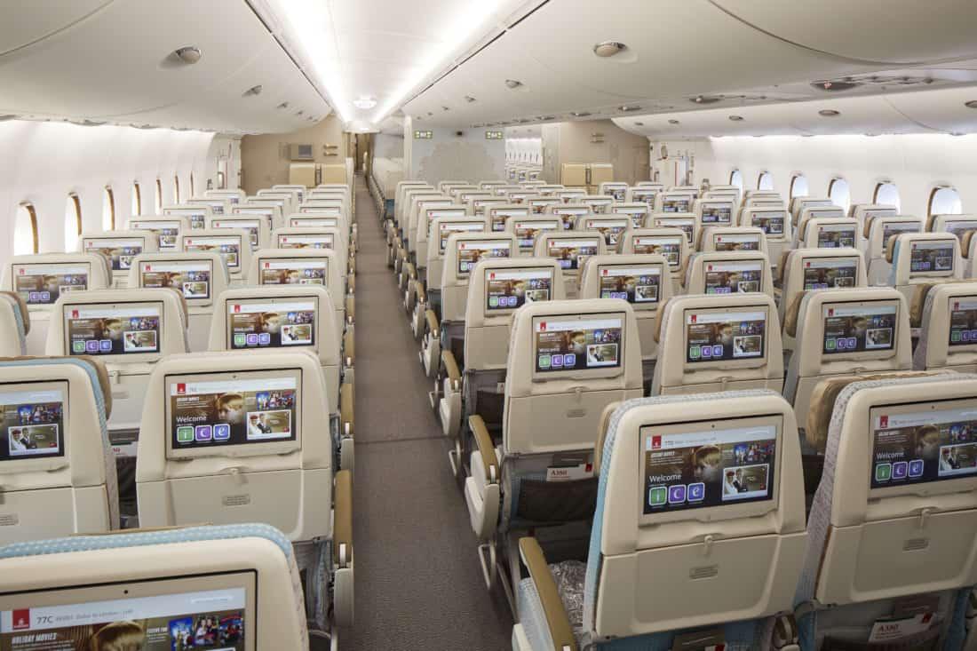 Neues Emirates Economy Class Design Rückansicht