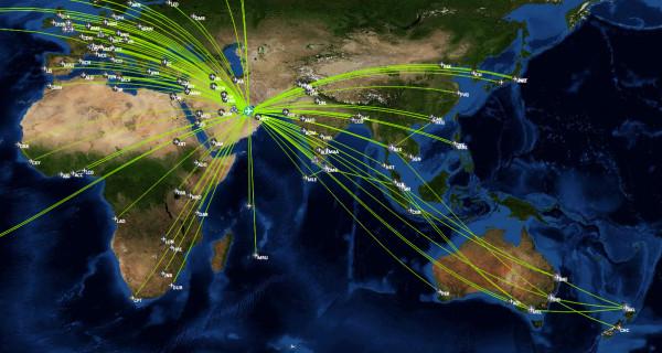 Fast das komplette Streckennetz von Emirates mit 230€ Rabatt buchbar