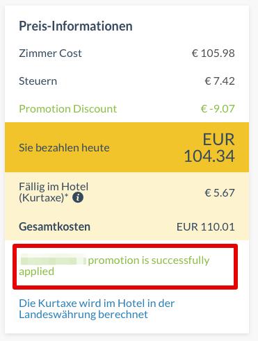 Otel.com Gutschein eingelöst